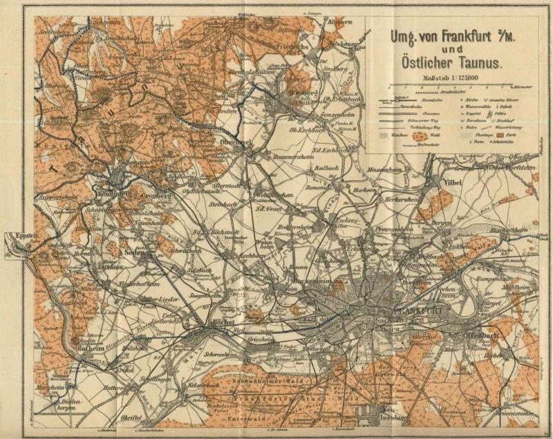 Umgebung von Frankfurt und Östlicher Taunus ca. v. 1950  (51019)