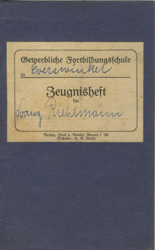 Everswinkel / Warendorf v. 1921  Zeugnisheft  (51300)
