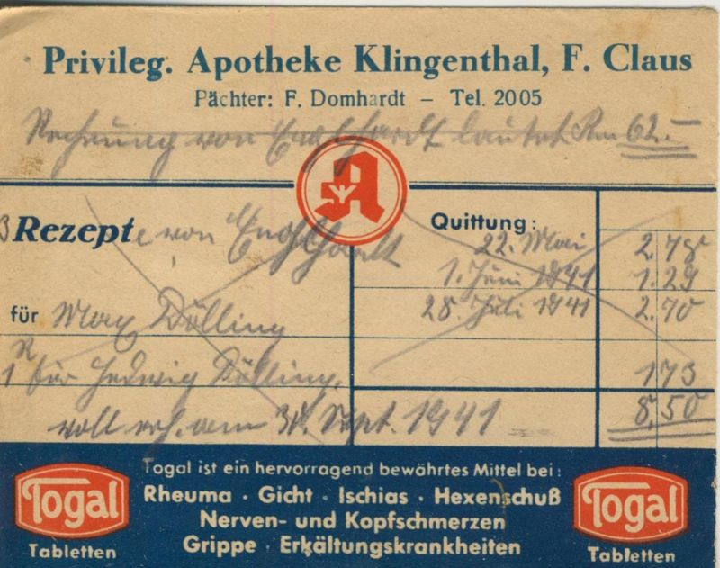 Klingenberg v. 1941  Privileg. Apotheke, F. Claus, Pächter F. Domhardt (51315)
