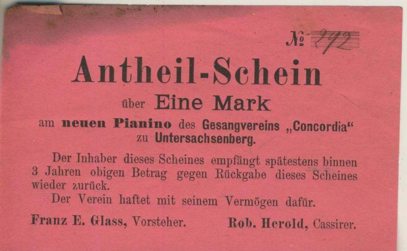 Untersachsenberg v. 1912  Antheil-Schein - Eine Mark, Gesangvereins