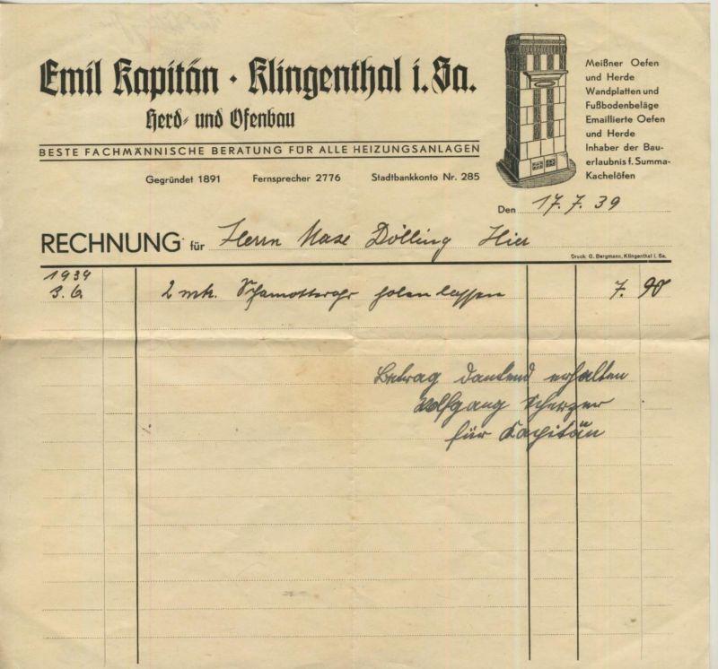 Klingenthal i. Sa. v. 1939  Emil Kapitän - Herd und Ofenbau  (51312)