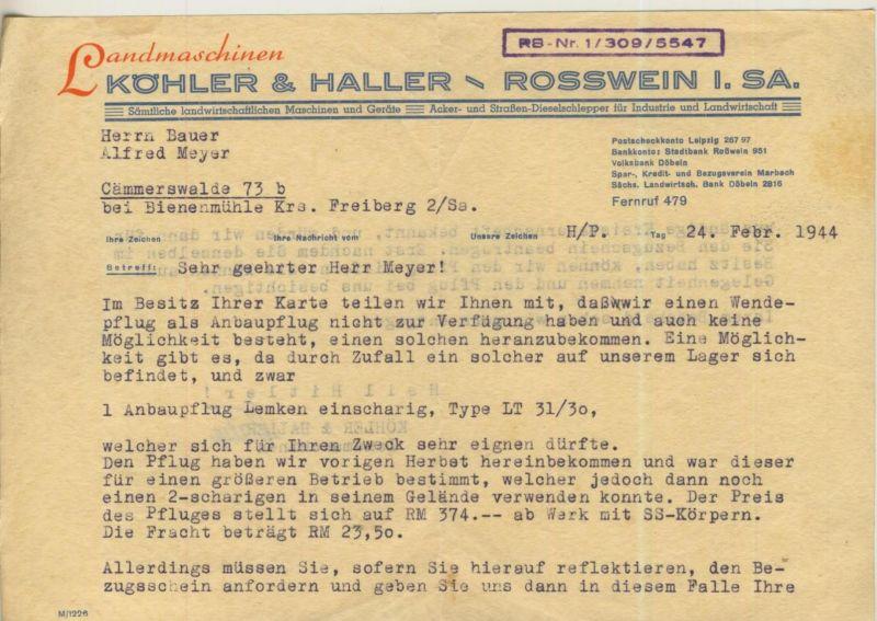 Rosswein / Sa. v. 1944  Köhler & Haller - Landmaschinen  (51311)