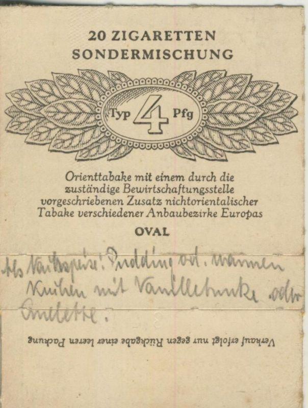 Oval Zigaretten Sondermischung - Typ 4 Pfg. ca. von 1944/45  (51370)