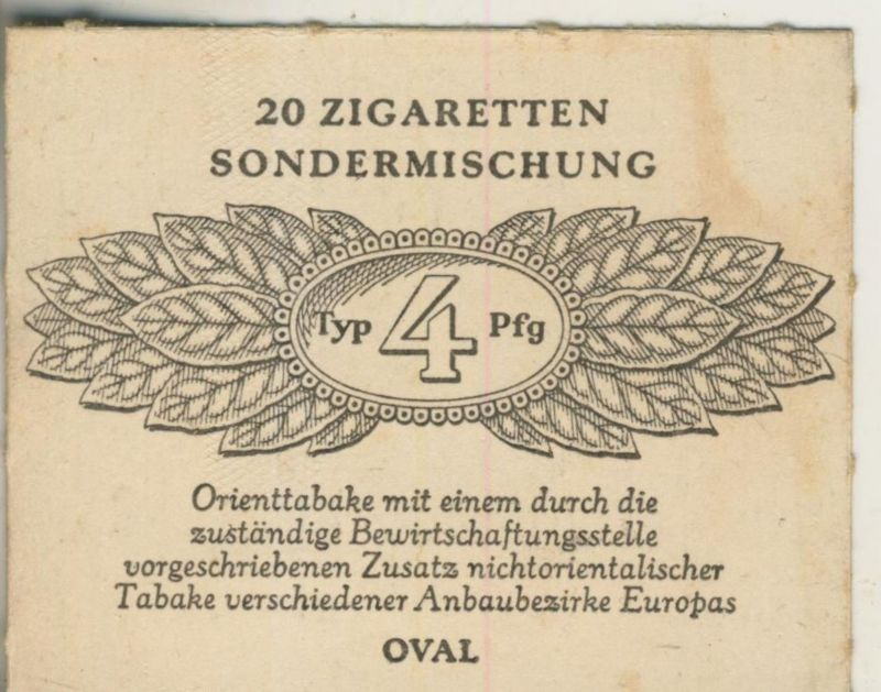 Oval Zigaretten Sondermischung - Typ 4 Pfg. ca. von 1944/45  (51367)