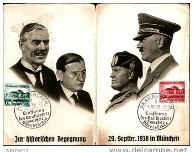Zur historischen Begegnung 29. Sept. 1938 in München  --  siehe Foto !!(9388-011)