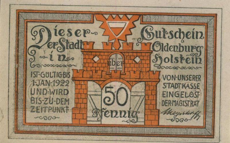 Oldenburg in Holstein,1. Jan. 1922  50 Pfennig  ( GUTSCHEIN )  (51800)