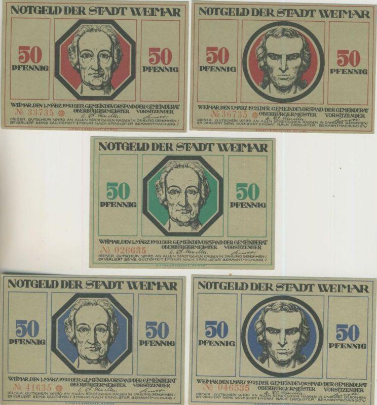 Städte Notgeldscheine - Banknoten während der Inflationszeit v. 1921 WEIMAR 5 x 50 Pfg.