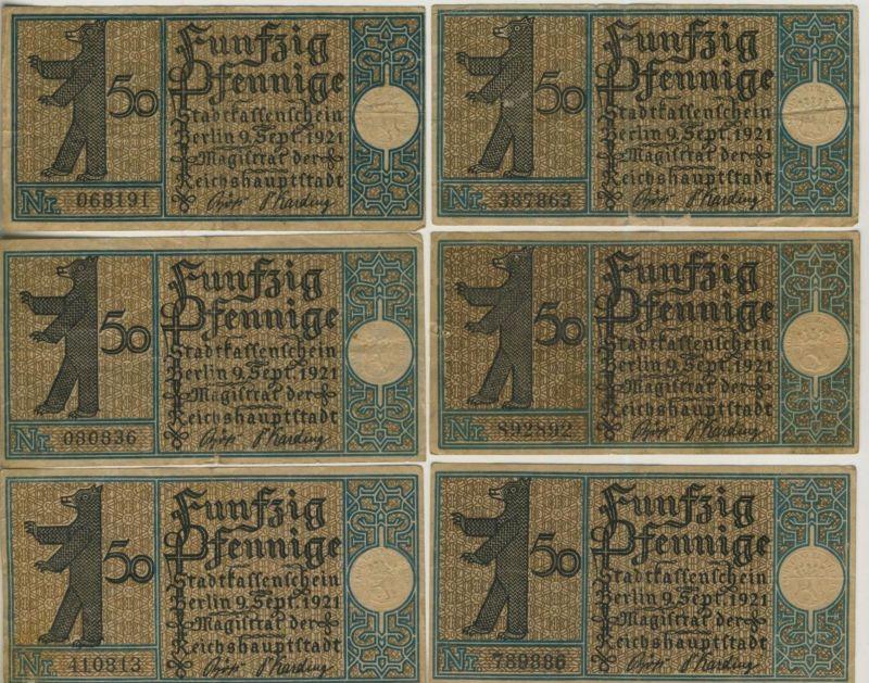 Berlin v. 1921   6 x 50 Pfennig   --  siehe Foto !!  ( NOTGELD )  (51805)