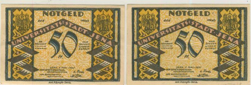 Städte Notgeldscheine - Banknoten während der Inflationszeit v. 1921 Jena 2 x 50 Pfg.