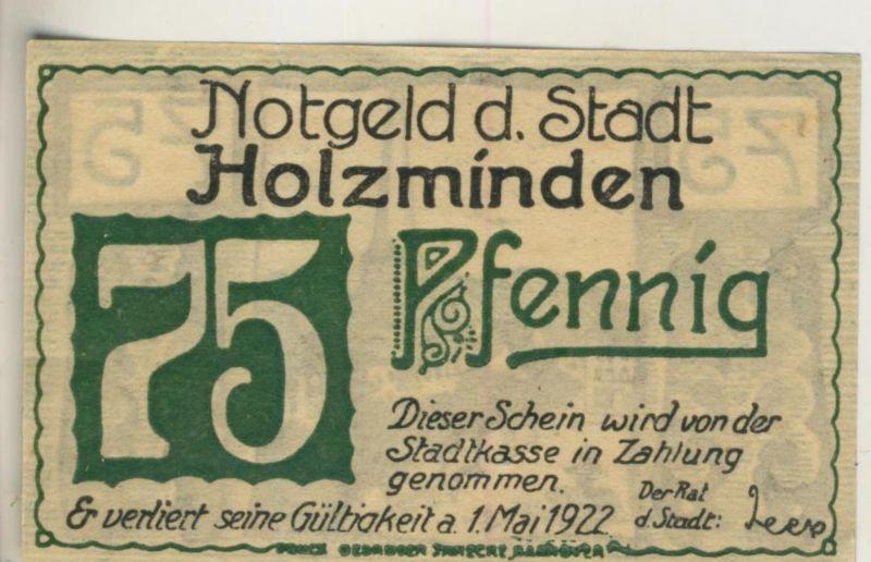 Städte Notgeldscheine - Banknoten während der Inflationszeit v. 1922 Holzminden 75 Pfg.