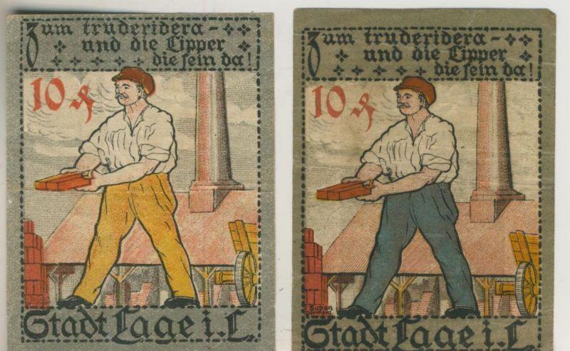 Lage i. Lippe v. 1921   2 x 10 Pfennig  Ziegelei  ---   ( GUTSCHEIN )   (51811)