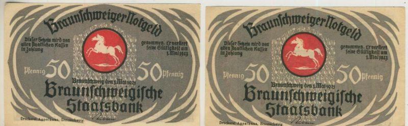 Städte Notgeldscheine - Banknoten während der Inflationszeit v. 1923 Braunschweig 2 x 50 Pfennig -