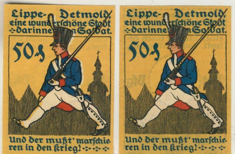 Lippe-Detmold v. 1920   2 x 50 Pfennig   ( NOTGELD )  (51813)