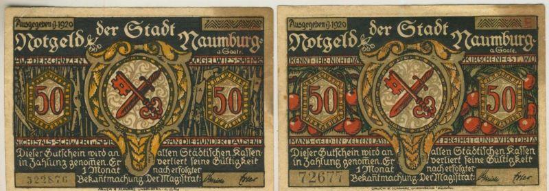 Naumburg v. 1920   2 x 50 Pfennig   ( GUTSCHEIN )  (51814)
