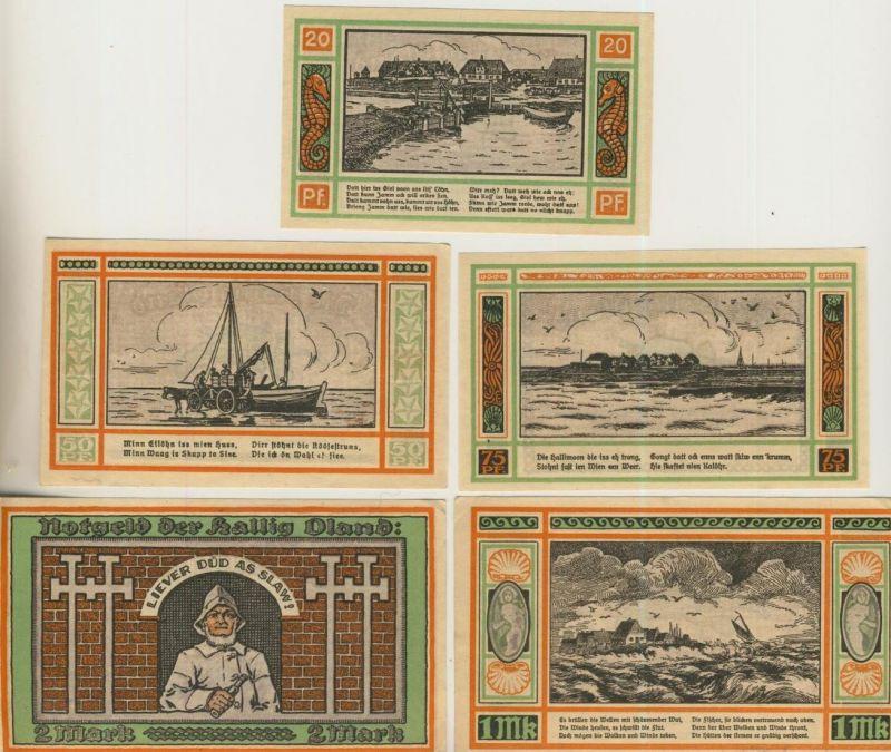Hallig Oland v. 1922  25,57,75 Pfennig - 1 und 2,- Mark   ---   ( GUTSCHEIN )   (51816)