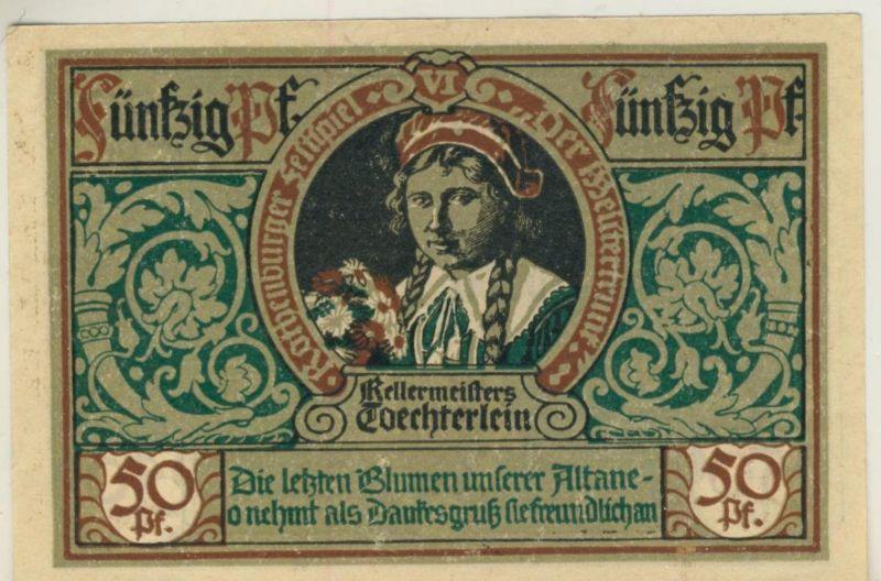Städte Notgeldscheine - Banknoten während der Inflationszeit v. 1921 Rothenburg 50 Pfg.  (51817)
