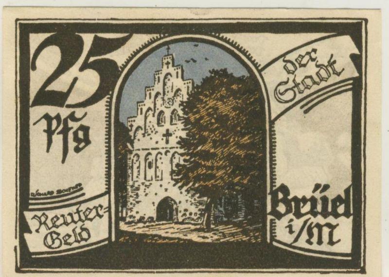 Brüel i. M. v. 1922  Reutergeld 25 Pfg.  (51817)
