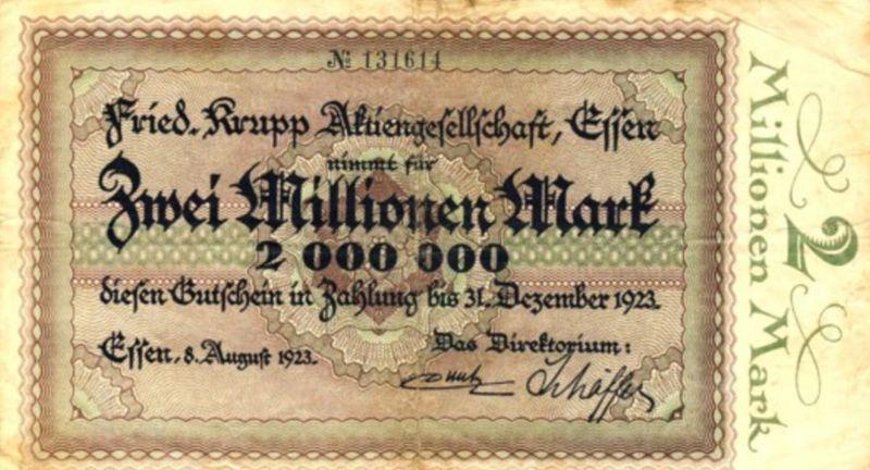 Städte Großgeldscheine - Banknoten während der Inflationszeit v. 1923  2 Millionen Mark -