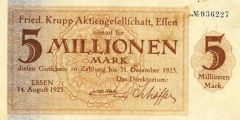 Städte Großgeldscheine - Banknoten während der Inflationszeit v. 1923  5 Millionen Mark -
