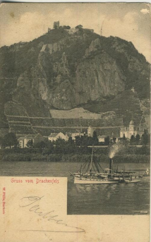 Gruss vom Drachenfels v. 1907  Burg,Dorf,Dampfer  (52060)