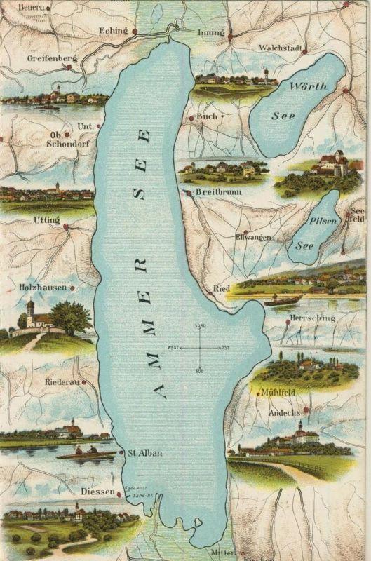 Ammersee v. 1928  Dörfer die am See liegen  (52066)