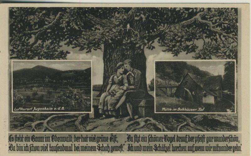 Jugenheim v. 1935  Dorfansicht,Mühle,Eichenbaum mit einem Paar  (52080)