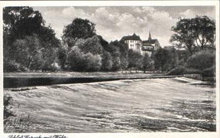 Schloß Goseck mit Wehr v.1953 (15253)