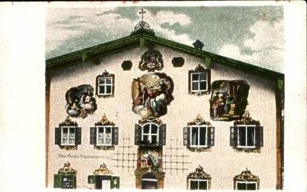 Oberammergau v.1922 Dreis Fresken (15661)