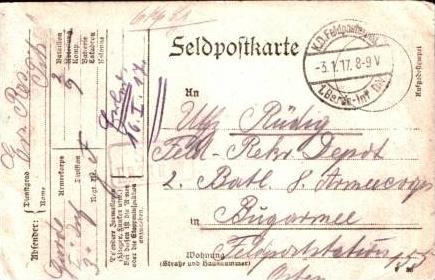 Feldpostkarte v.1917 siehe beschreibung (15699-05)