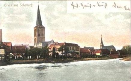 Schüttorf v.1906.Teil-Stadt-Ansicht & Vechte(15853-01