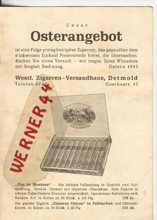 Detmold v. 1953  Westfälisches Zigarren-Versandhaus, Goethestrasse 12   (37825)