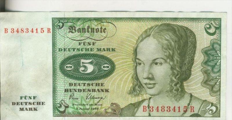 Bundesrepublik Deutschland v. 1980  5 DM Schein - Kassenfrisch   (37832)