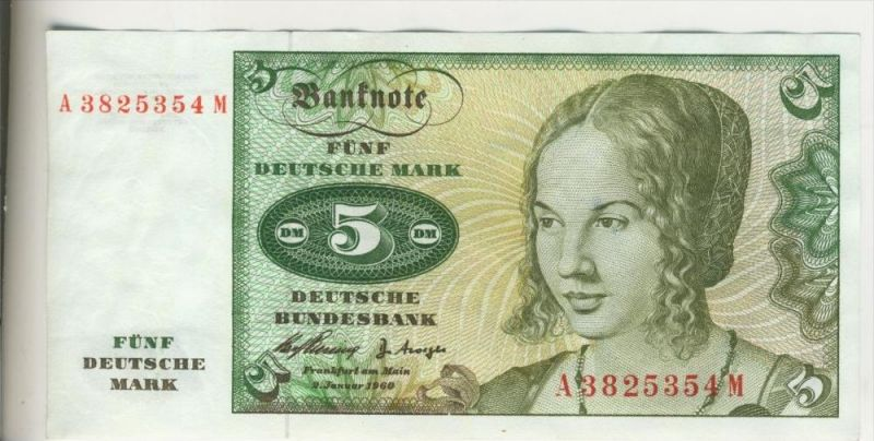 Bundesrepublik Deutschland v. 1960  5 DM Schein - Kassenfrisch   (37833)