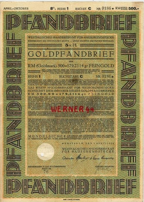 Westfälisches Pfandbriefamt für Hausgrundstücke von 1928  GOLDPFANDBRIEF über 500 Goldmark  (40517)