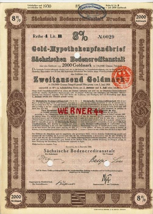 Sächsische Bodencreditanstalt Dresden von 1924  Gold-Hypothekenpfandbrief über 2000 Goldmark  (40518)