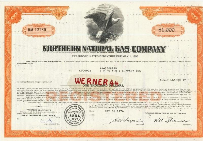Northern Natural Gas Company von 1974  Nennwert 1000 Dollar  (40536)