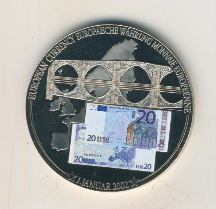 Gedenk Münze Euro Banknoten Prägung 20 Euro Schein v. 2002, Color, pp