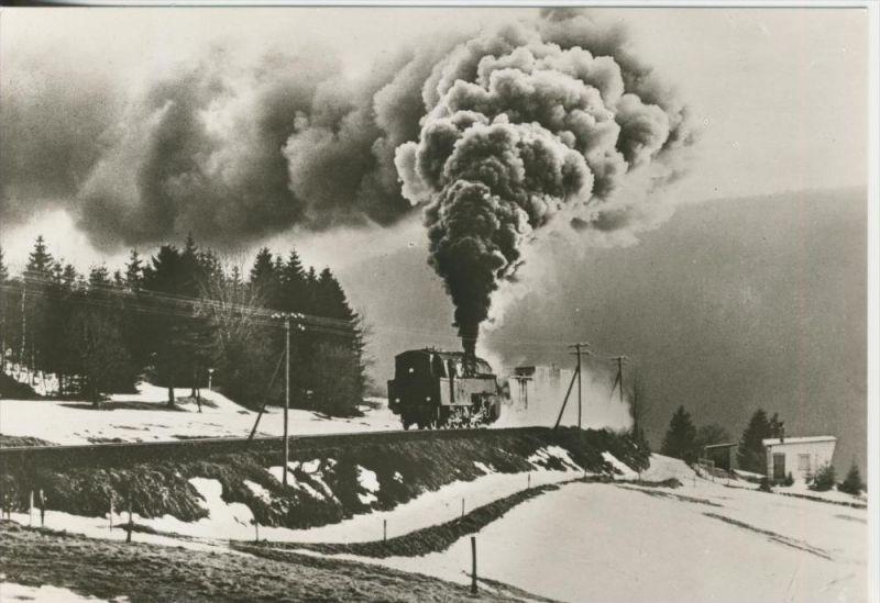 Lauscha v. 1983  Lok 95028 mit Güterzug zwischen Lauscha und Oberlauscha  (44149)