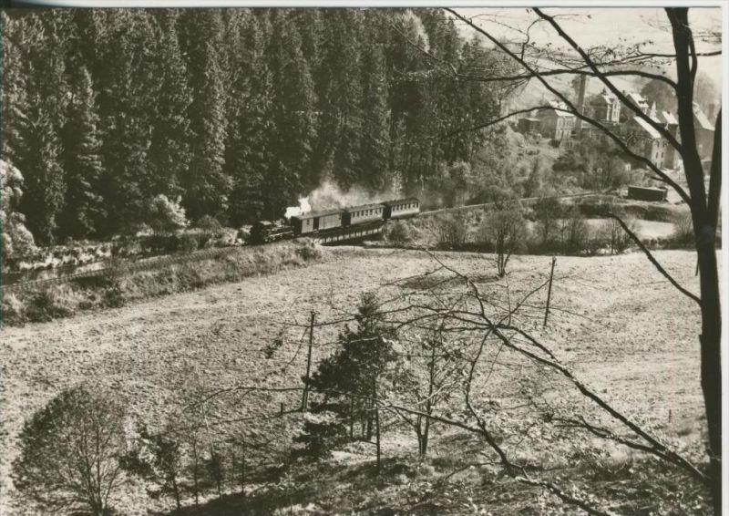 Wolkenstein-Jöhstadt v. 1983  Personenzug rollt über die Preßnitz Brücke (44151)