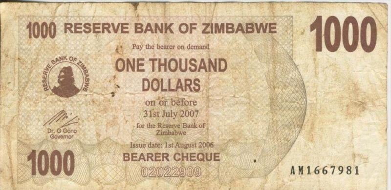 Zimbabwe v. 31. Juli 2007  1000 Dollars (44245)