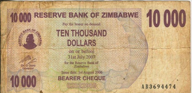 Zimbabwe v. 31. Juli 2007  10000 Dollars (44246)