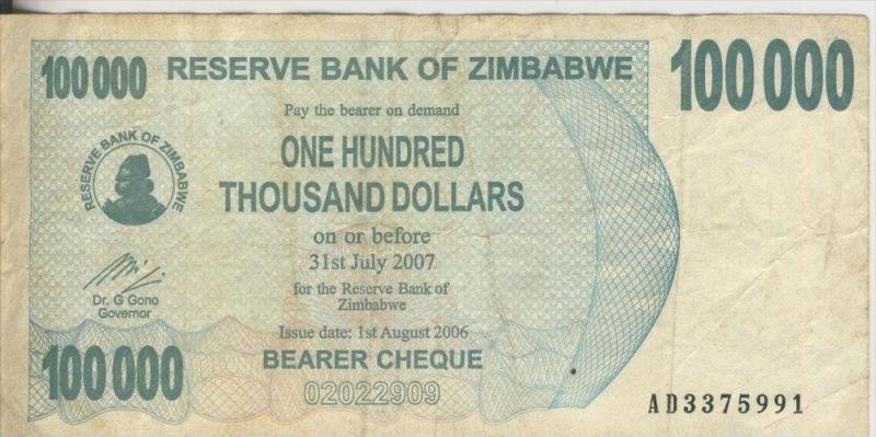 Zimbabwe v. 31. Juli 2007  100000 Dollars (44247)