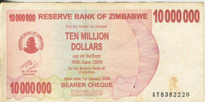 Zimbabwe v.  30. Juni 2008  Ten Million Dollars (44248)