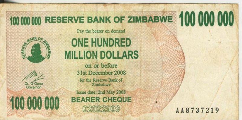 Zimbabwe v.  31. December 2008  On Hundred Million Dollars (44249)