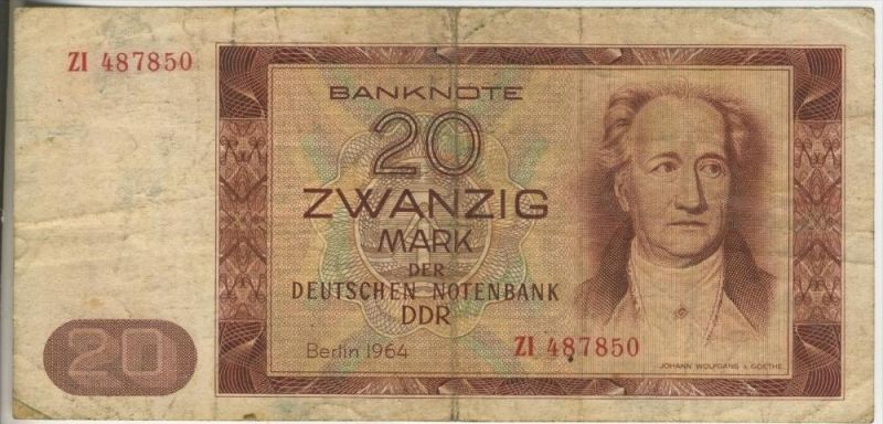 DDR - Ausgabe der Deutschen Notenbank 1964 Zwanzig Deutsche Mark (44253)