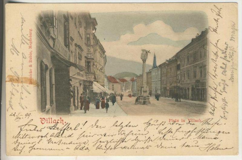 Villach v.1899 Platz in Villach mit Geschäfte (758-N)