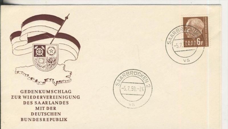 Gedenkumschlag zur Wiedervereinigung des Saarlandes mit der Deutschen Bundesrepublik v. 1959   (45642)