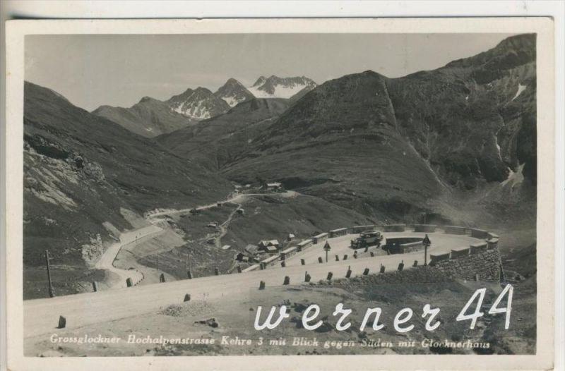 Grossglockner v.1938  Hochalpenstrasse,3 Kehre mit Blick gegen Süden mit Glocknerhaus  (11953)