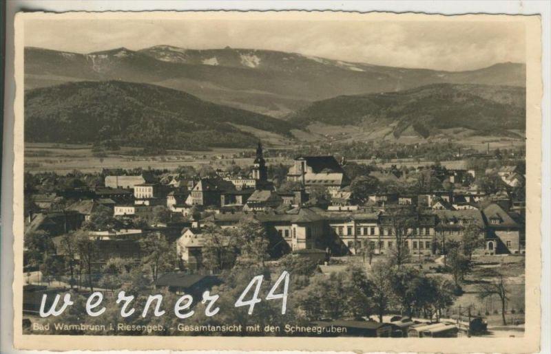 Bad Warmbrunn / Riesengebirge v.1941  Teil-Stadt-Ansicht  (15496)