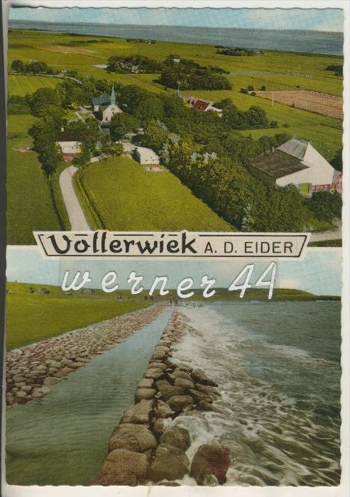 Vollerwiek a. d. Eider v.1968 Dorfansicht und Deich und Eider  (15499-030)